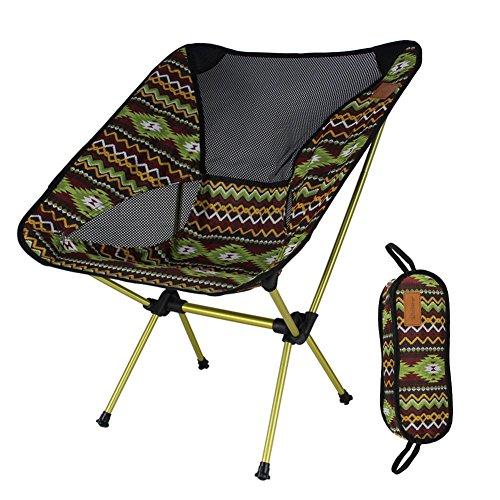 Tragbarer Faltbar Camping Stühle Campingstuhl Klappstuh Freizeitstuhl Campingstühle Strandstuhl stark und haltbarer Ultraleichter mit Tragetasche für Wandern, Angeln, Strand, Freien , brown