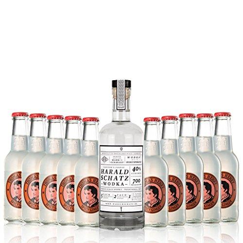 Moscow Mule Set im Paket | Alles was man für einen richtigen Moscow-Mule benötigt | (10 x 0,2l) Thomas Henry Ginger Beer und (1 x 0,7l) feinster Vodka aus Deutschland