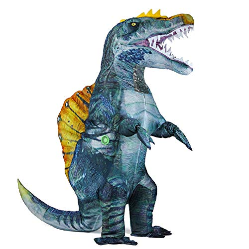 Inflatable Dinosaur Costume for Adults Blow-up Spinosaurus Dino Costume Funny Halloween Party Cosplay Costume (Blue)
