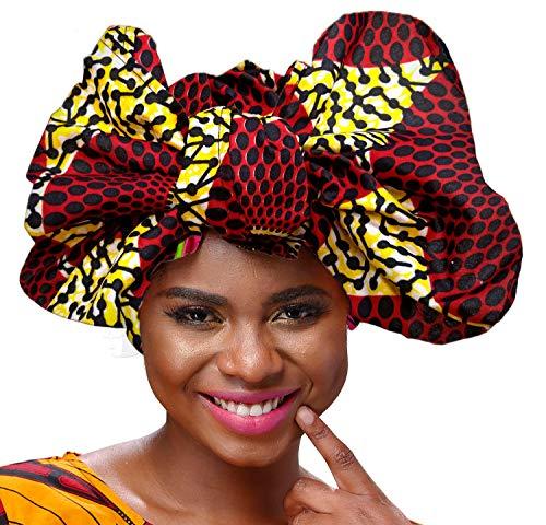 Shenbolen African Traditional Wax Print Head wrap Headwrap Scarf Tie,One Size (71in21in,1)