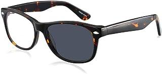 Bifocale Leesbril, Trendy Lezers Voor Mannen En Vrouwen, Photochromic Zonnebrillen, Vierkant Frame Clear Thin Flat Lens An...