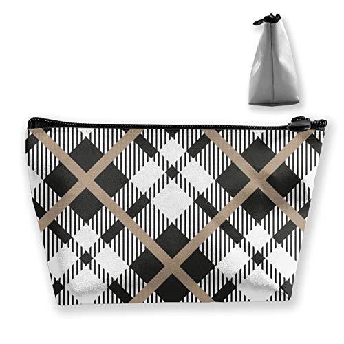 Organizador de Maquillaje de Vector Diagonal Blanco tartán Negro, Bolsa de Aseo, para Pinceles, Estuche para lápices