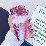 HUAI Caso de Shell Textura de la Flor del teléfono for el iPhone 11 Pro XR XS MAX 6 7 8 Plus 6S Suave IMD Dedo anular de Cristal Cubierta Trasera del teléfono (Color : I, Material : For iPhone 11)