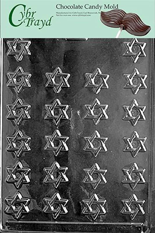 Cybrtrayd R005 Bite Size Star Of David Chocolate Candy Mold With Exclusive Cybrtrayd Copyrighted Chocolate Molding Instructions Plus Optional Candy Packaging Bundles