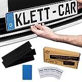 2 x Klett-Car® Set de porta matrículas para coches y motos sin marco - porta matrículas con cinta de velcro para todos los coches comunes - porta matrículas absolutamente invisible