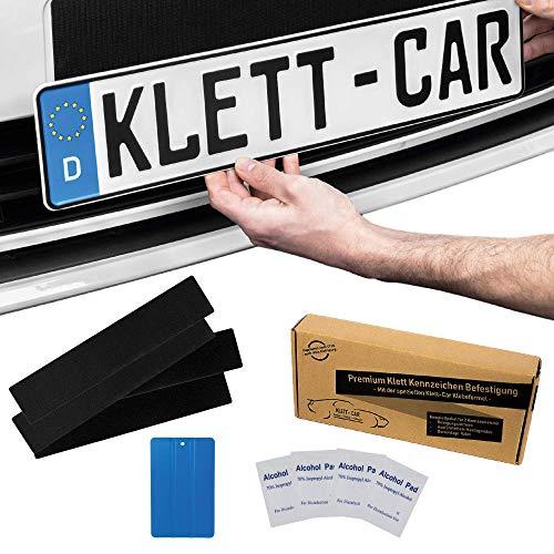 2 x Klett-Car Auto und Motorrad Kennzeichenhalter Set rahmenlos - Nummernschildhalterung für alle gängigen KFZ - absolut unsichtbarer Nummernschildhalter - Auto Kennzeichen Halterung unsichtbar