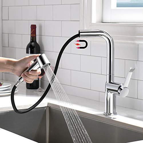 APPASO Wasserhahn Küche mit Brause, Küchenarmatur Ausziehbar, 360° Drehbar Mischbatterie mit 2 Strahlarten, Einhand-Spültischarmatur mit Magnet-Andocken für Küche/Wohnmobil/Bad | L-Form Chrom