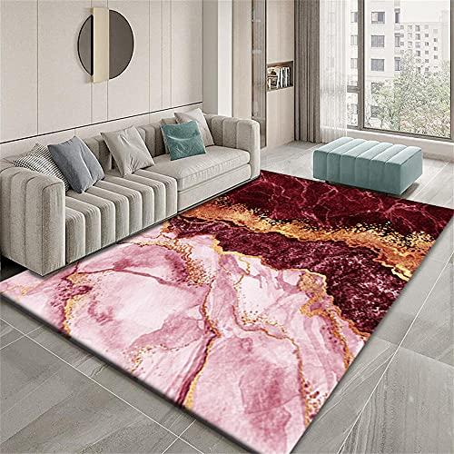 Alfombra Infantil Alfombras Niña Diseño gráfico Abstracto Rojo Dorado Alfombras Salon Grandes 120X160cm