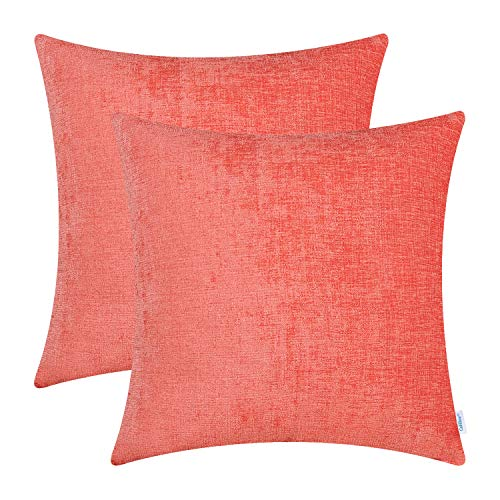 CaliTime Pack of 2 Cozy Throw Pillow Covers Cases for Couch Sofa Home Decoration Solid Dyed Soft Chenille 20 X 20 Inches Living Coral