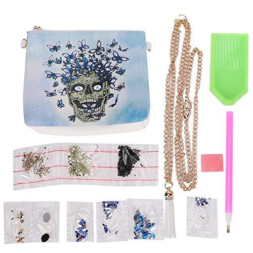 Bolso de mano con pintura de diamante, bolso bandolera, bolso de cadena con patrón de calavera de cuero PU blanco, regalo artesanal hecho a mano DIY para mujer