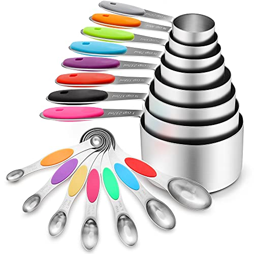 16 Pcs Stainless Steel Measuring Cups and Spoons Set, YIHONG Metal Measuring Cups and Spoons with Silicone Handle for Cooking & Baking, Includes 8 Cups, 7 Spoons and 1 Leveler