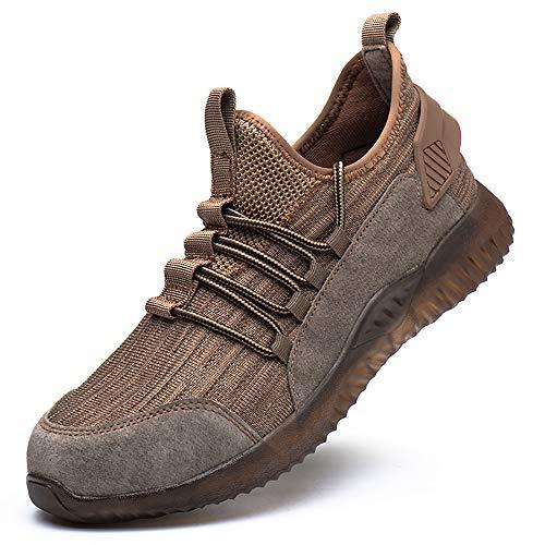 Zapatillas Hombre S3 Zapatos de Seguridad Mujer Zapatos de Industrial Zapatos de Trabajo con Puntera de Acero Ligero Comodas Antideslizante Calzado de Seguridad Trabajo para Unisex Amarillo 41