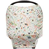 """Parker Baby 4 in 1 Car Seat Cover for Girls - Stretchy Carseat Canopy, Nursing Cover, Grocery Cart Cover, High Chair Cover -""""Bloom"""" car seat babies May, 2021"""