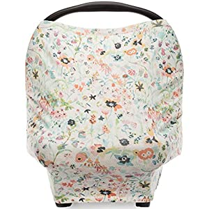 Parker Baby 4 in 1 Car Seat Cover for Girls and Boys – Stretchy Carseat Canopy, Nursing Cover, Grocery Cart Cover, High Chair Cover