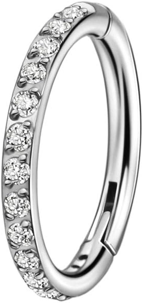 FANSING 16g Cartilage Earring Hoop Surgical Steel Earrings for Women Clear Cubic Zirconia Helix Hoop 16 Gauge Ear Lobe Rook Conch Piercing Jewelry