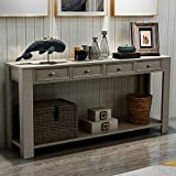 P PURLOVE Console Table for Entryway Hallway Easy Assembly 64' Long Sofa Table with Drawers and Bottom Shelf (64', Antique Grey)