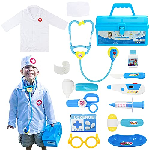 Fajiabao Doctor Kits for Kids Medical Playset Toys Toddler Boy Toys Doctor Coat Indoor Family Cosplay Party Games Dress Up Costume Role Pretend Play Birthday Gifts for Boys Girls 2 3 4 5 Years Old