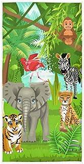 rodde Serviette à la Main Taille 30 x 15 Pouces Arbre forestier éléphant Animal zèbre hautement Absorbant pour la Maison C...