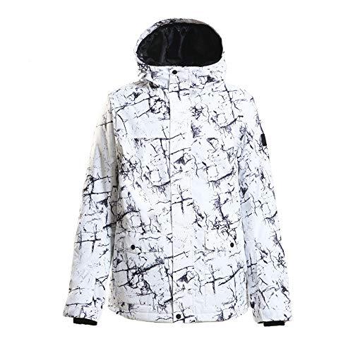 BGROESTWB Chaqueta de esquí para hombre, impermeable, resistente al viento, gruesa chaqueta de invierno (color: blanco, tamaño: L)