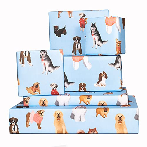 Central 23 - Blue Wrapping Paper Sheets - Puppy Dogs - 6 Gift Wrap Sheets - Birthday GiftWrap - Recyclable