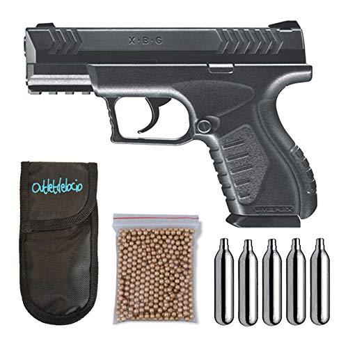 Outletdelocio. Pistola Perdigón Umarex XBG. Calibre 4,5mm BBS. + Funda Portabombonas + Balines + Bombonas co2. 23054 29318 13275