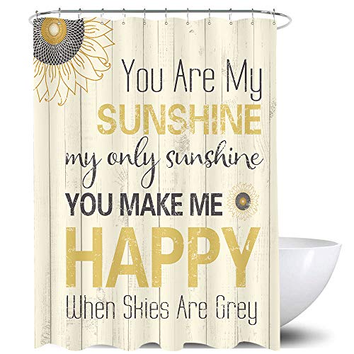 Homewelle Inspirational Sunshine Shower Curtain Motivational You are My Sunshine 60Wx72H Wood Quotes Yellow Gray Grain Geometric Sunflower Simple Rustic 12 Pack Hooks Polyester Fabric Bathroom Bathtub