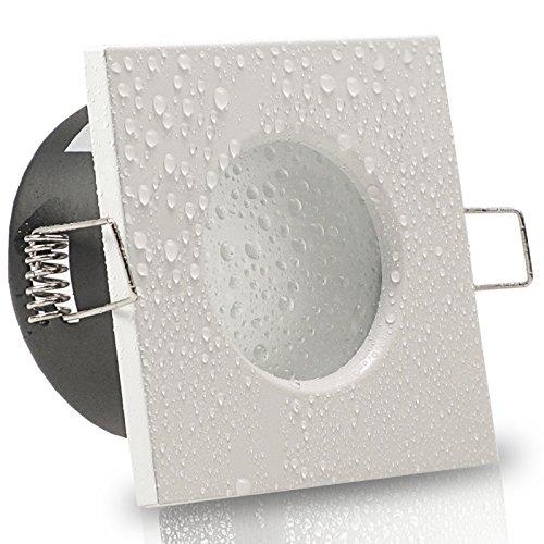 AQUA BASE IP65 5er Set 230V LED 5W dimmbar flach Decken Bad Einbaustrahler eckig Weiß Modul Warm-Weiß (3000k) nur 50 mm Einbautiefe Bad Feuchtraum Einbauleuchte quadratisch