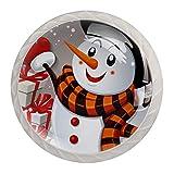 Perillas de cajón Tiradores Manija Herrajes para armarios Cajones de tocador de vidrio Gabinete de puerta para oficina en casa Armario de cocina Regalo de muñeco de nieve de feliz Navidad