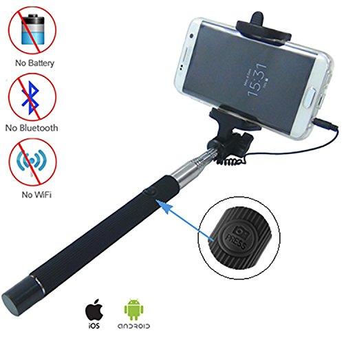 DynaSun Palo soporte selfie telescópico S167A Pro con botón disparador y cable jack...