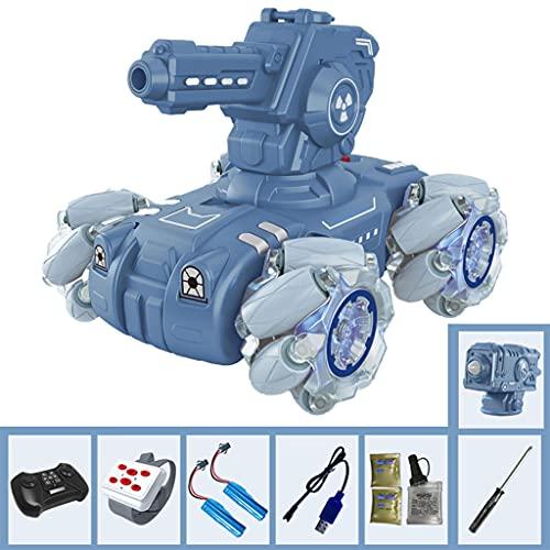 freneci Recargable 2.4G RC Tanque de Juguete Inducción de Gestos Desmontable Fort 360 Bomba de Agua giratoria 4WD Regalos de Grado de Juguete - Azul 70min