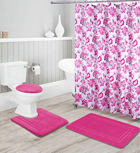 Kids Zone Home Linen 16-teiliges Badezimmer-Zubehör-Set – rutschfeste Badematte, rutschfeste Konturmatte, WC-Deckelbezug & Duschvorhang mit Rollhaken rose