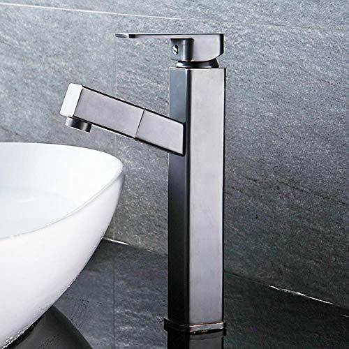 Cuarto de baño simple grifo del lavabo del grifo de la cocina Negro cobre antiguo grifo de lavabo encima contador cuenca del grifo caliente y frío, Negro