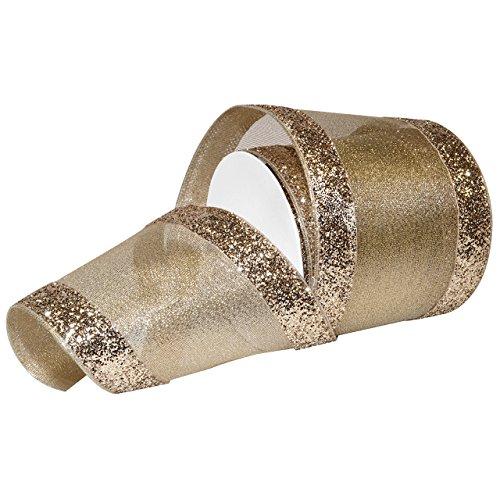 Morex Ribbon Wired Metallics Glitter Chic Ribbon, 4' x 10 Yd, Gold