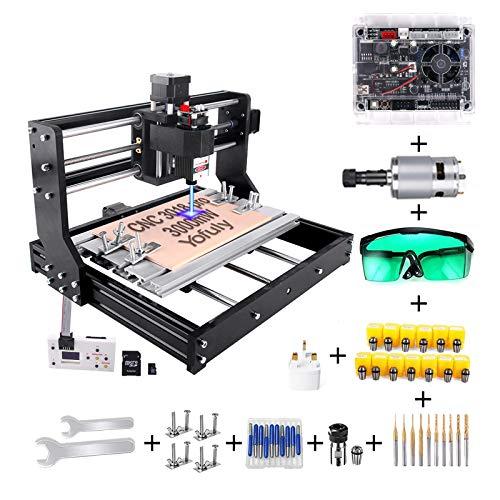 Yofuly CNC 3018 Pro 3000 mW Gravierfräsmaschine, 2-in-1 Upgrade Version GRBL Control DIY Mini CNC-Maschine, 3 Achsen PCB Fräsmaschine mit Offline Controller, mit ER11 und 5 mm Verlängerungsstange