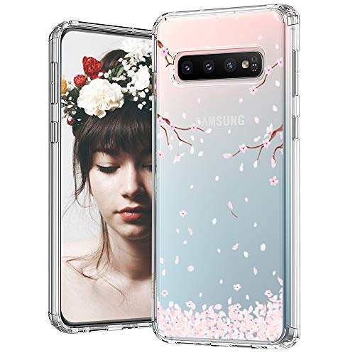 MOSNOVO Galaxy S10 Case, Cherry Blossom Floral Printed Flower Pattern Clear Design Transparent Plastic Back Case with TPU Bumper Gel Protective Case Cover for Samsung Galaxy S10