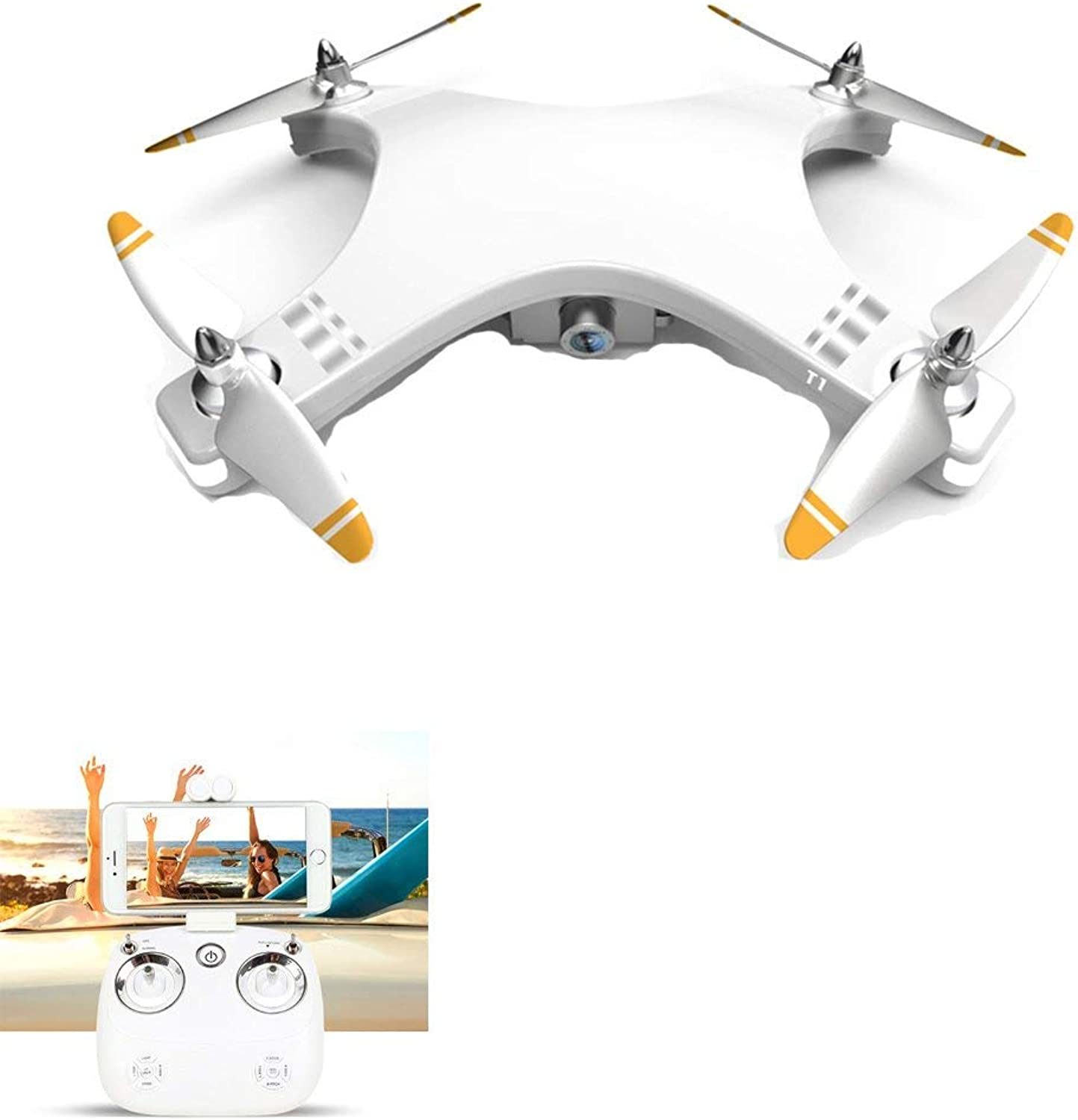 LNLJ GPS FPV RC Drone mit 720P HD Camera Live-Video-Brushless Motor One-Button Return Home 5.8GHz Quadcopter ausgestattet 4G Memory Card Multi-Funktion Aircraft Weiß