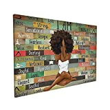 African American Gifts For Black Women Wall Art Wood Canvas Wall Art Print Picture Painting Home Decor For Living Room Dining Room Bedroom Kitchen Bathroom Office Decoration Ready To Hang 16x24 inch