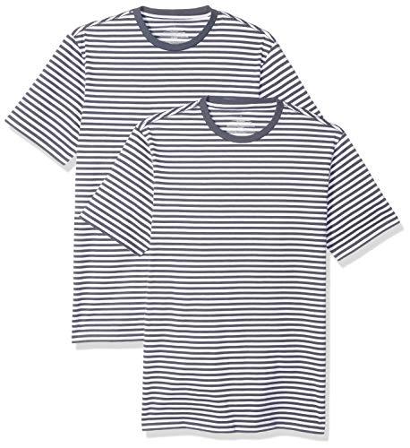 Amazon Essentials - Pack de 2 camisetas de manga corta con cuello redondo y diseño a rayas para hombre, Azul marino/Blanco, US M (EU M)