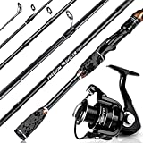 PLUSINNO Freedom Traveler Spinning Fishing Rod and Reel Combos, 6 Pc 30 Ton Carbon Fiber Spinning Rod Poles, 8+1 Shielded Bearings Spinning Reel for Saltwater Freshwater Fishing Gear Kit