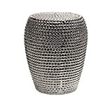 IMAX Wright Metallic Garden Stool - Ceramic Body with Silver Metallic Textured Finish. Outdoor Decorative Stools