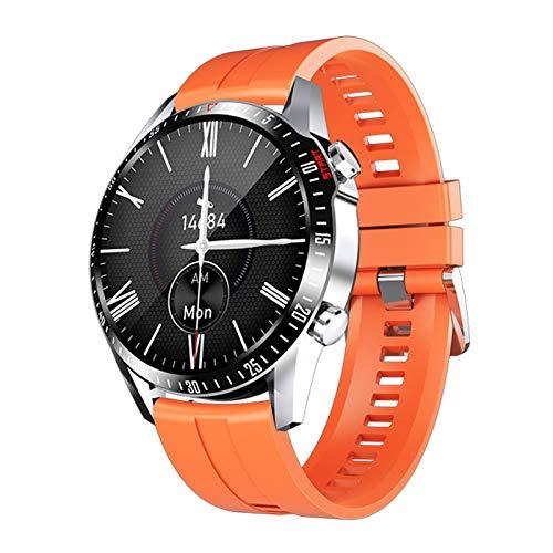 Smartwatches, 1.28 Pulgadas Reloj Inteligente de Medición de Temperatura con Pulsómetro Impermeable IP68 Deportivo Fitness Pulsera Podómetro Monitor de Sueño Cronómetros para iOS Android,Naranja
