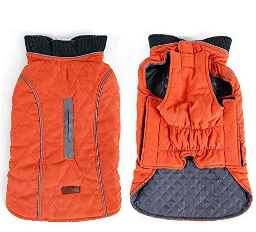 RC GearPro Retro Design Cozy Winter Dog Pet Jacket Vest Warm Pet Outfit Clothes 6colors with Harness Hole for Medium Large Small Dog (S, Orange)