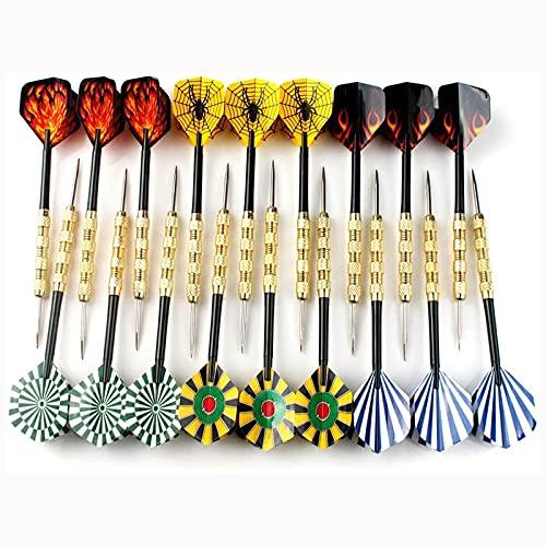 HUI JIN - Freccette a punta in acciaio inox, punta in acciaio, confezione da 18 pezzi, 14 g, set professionale di punte per freccette in metallo