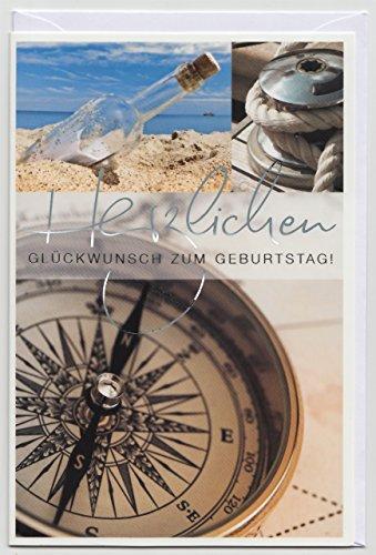 Geburtstagskarte für Herren maritim Kompass & Flaschenpost am Strand