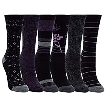 Kirkland Signature Womens 6 Pack Extra Fine Merino Wool Trail Socks  Black/Purple