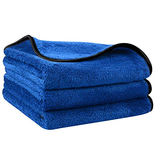 SINLAND Microfibra Asciugamano di Asciugatura di Pulizia Auto Panni Microfibra Ideal per Auto e Usi Domestici, 40x60 cm (3 Pezzi)