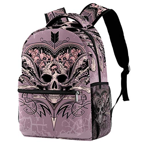 Skull Heart On A Dusty Mauve Background Pattern Backpack for Teens School Book Bags Travel Casual Daypack