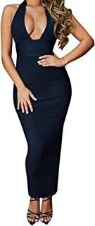 FarJing Women's Sexy Deep V-Neck Backless Tight-Fitting Hollow-Out Night Club Dress