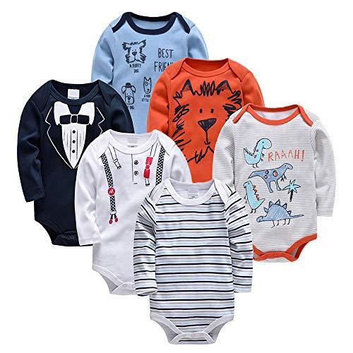 Bebé Body 6 Pcs Mamelucos Pijama Manga larga Monos Algodón Ropa Peleles Onesies Trajes Chalecos Recien Nacido Niños Regalo 12-18 meses