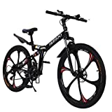 26 Inch Mountain Bike Hybrid Road Bike 21 Speed Drivetrain,Fitness Bicycle Urban City Commuter Bike Disc Brakes Aluminum Full Suspension Non-Slip for Mens/Womens